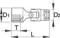 """Головка торцевая с шарниром с внутренним профилем TORX, 3/8"""" - 237/1F UNIOR, фото 2"""