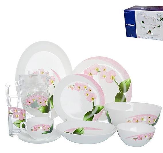 Столовый сервиз Luminarc Pink Orchid 46 предметов на 6 персон