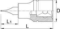 """Головка торцевая со вставкой с профилем TORX, 3/8"""" - 236/2TX UNIOR, фото 2"""