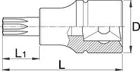 """Головка торцевая со вставкой с профилем TX, с отверстием, 3/8"""" - 236/2TR UNIOR, фото 2"""