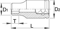 """Головка торцевая шестигранная, 1/2"""" - 190/1 6p UNIOR, фото 2"""