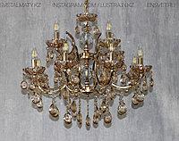 Люстра хрустальная  на 12 ламп, цоколь E14,  цвет золото, фото 1