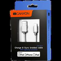 Kабель поможет вам быстро заряжать и синхронизировать CANYON MFI-3 Charge & Sync MFI Apple,1m