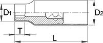 """Головка торцевая шестигранная изолированная, 1/2"""" - 190/2VDEDP UNIOR, фото 2"""