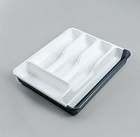 Лоток для столовых приборов  раздвижной, цвет белый/антрацит, фото 1