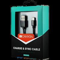 CANYON кабель, цвет - черный, разъем USB-Lightning, сертификат MFI/Apple, длина 1 м.