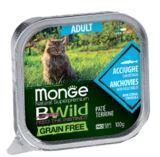 Monge BWild GF Cat 100г (Анчоус) Паштет корм для взрослых кошек Paté terrine Acciughe, фото 1