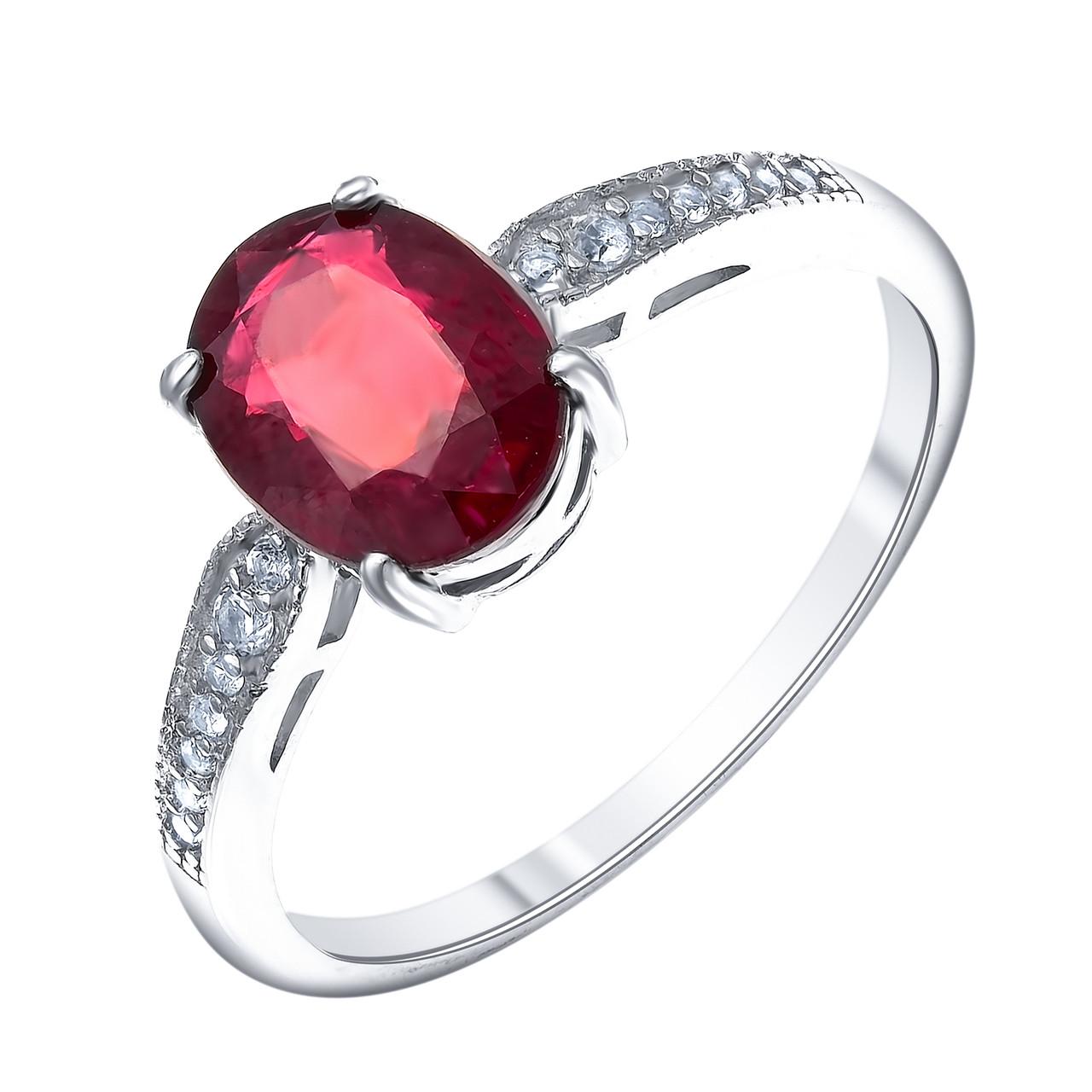 Кольцо из серебра с натуральным рубином и белым топазом