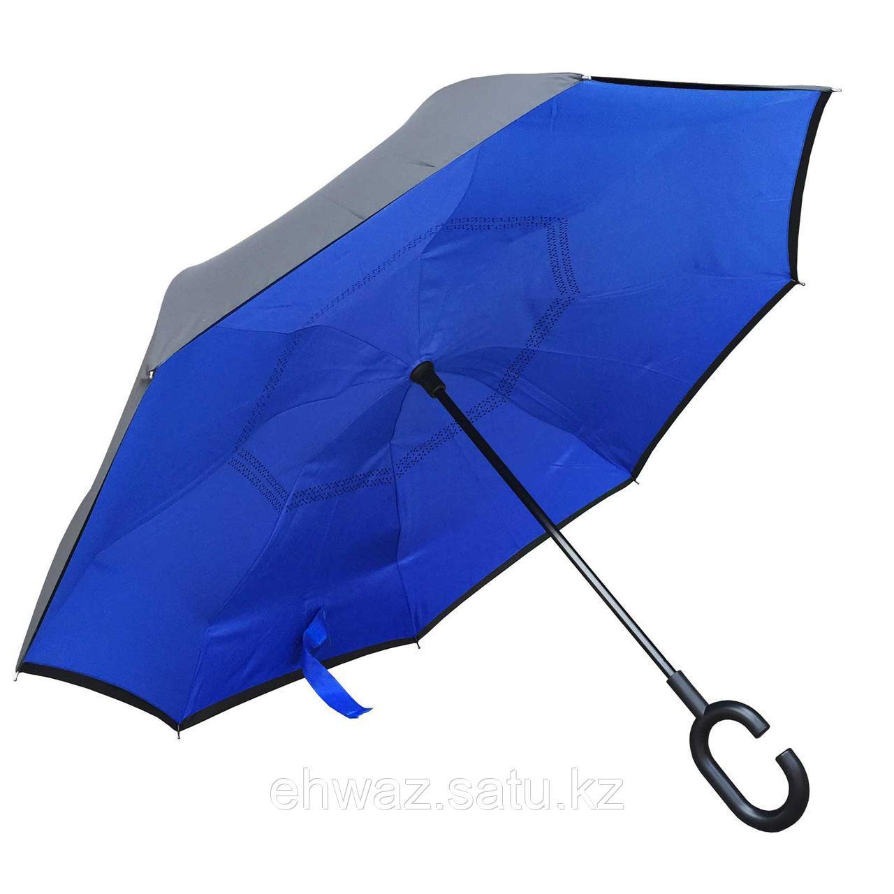 Умный зонт Наоборот, цвет синий + черный