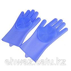 Силиконовые перчатки для мытья посуды, цвет голубой