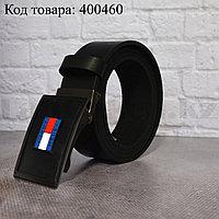 Ремень мужской кожаный с автоматической пряжкой-зажимом черный 004