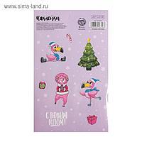 Наклейки бумажные «Фламинго», 11 х 18,05 см