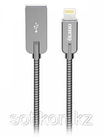Кабель OLMIO STEELY, USB 2.0 - lightning, 1.2м, 2.1A, серый