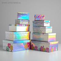 Набор иридисцентных коробок 10 в 1 «С Днем Рождения», 12 × 7 × 4 - 32.5 × 20 × 12.5 см