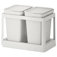 Решение для сортировки мусора ХОЛЛБАР, с выдвижным модулем/светло-серый 20 л. ИКЕА, IKEA