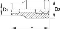 """Головка торцевая шестигранная, 1"""" - 199/1 6p UNIOR, фото 2"""
