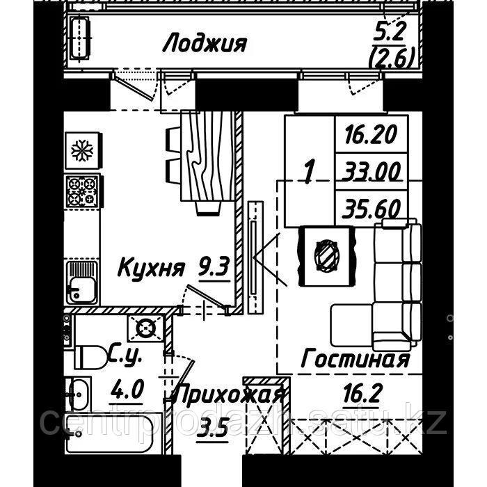 """1 комнатная квартира в ЖК """"Рио-де-Жанейро"""" 35.6 м²"""