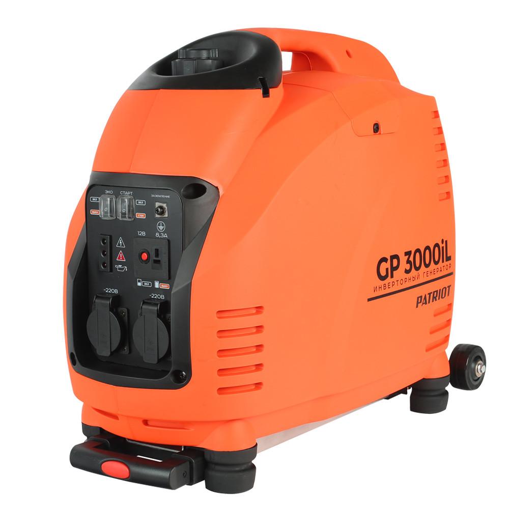 Генератор инверторный PATRIOT 3000il, 3,0/3,5 кВт, уровень шума 63 dB, колеса, вес 31,5 кг