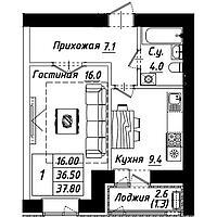 """1 комнатная квартира в ЖК """"Рио-де-Жанейро"""" 37.8 м²"""
