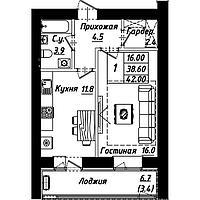 """1 комнатная квартира в ЖК """"Рио-де-Жанейро"""" 42 м²"""