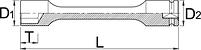 """Головка торцевая ударная шестигранная, удлинённая, 1/2"""", 200 мм - 231/4XXL6p UNIOR, фото 2"""