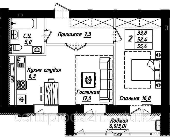 """2 комнатная квартира в ЖК """"Рио-де-Жанейро"""" 55.4 м²"""