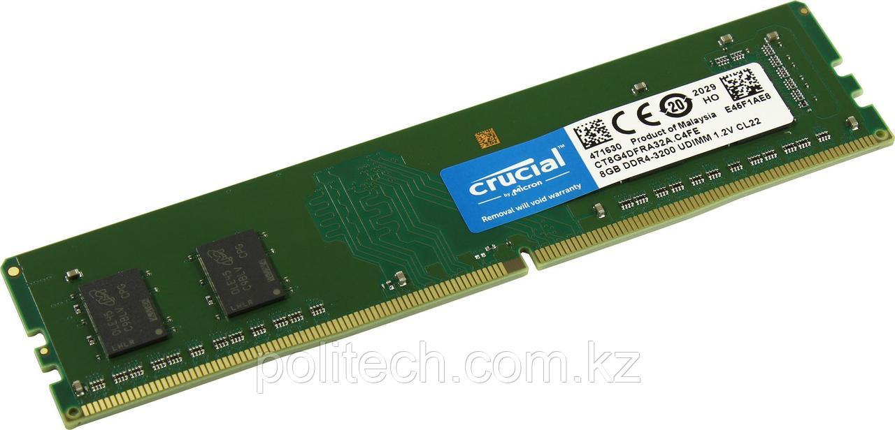 Оперативная память 8Gb DDR4 3200 MHz Crucial CL22 PC4-25600 UDIMM Unbuffered NON-ECC DDR4-3200 1.2V 1024Megx64