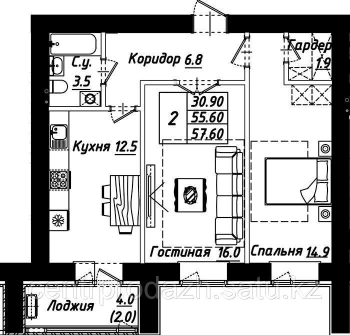 """2 комнатная квартира в ЖК """"Рио-де-Жанейро"""" 57.6 м²"""