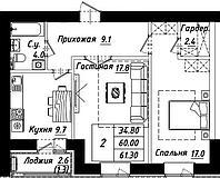 """2 комнатная квартира в ЖК """"Рио-де-Жанейро"""" 61.3 м²"""