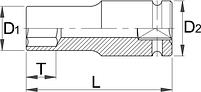 """Головка торцевая ударная шестигранная, удлинённая, для повреждённого крепежа, 1/2"""" - 231/4LNS UNIOR, фото 2"""