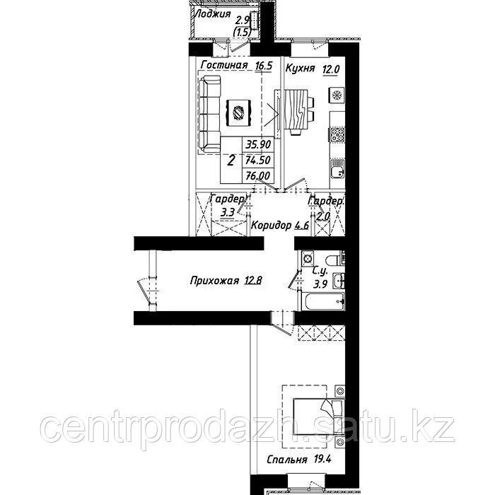 """2 комнатная квартира в ЖК """"Рио-де-Жанейро"""" 76 м²"""