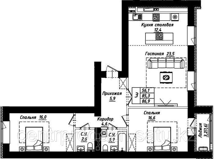 """3 комнатная квартира в ЖК """"Рио-де-Жанейро"""" 86.9 м²"""