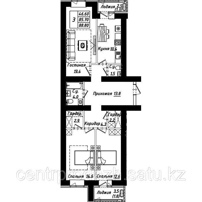 """3 комнатная квартира в ЖК """"Рио-де-Жанейро"""" 88.8 м²"""