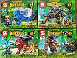 Конструктор Аналог лего Lego 4в1 Jurassic World Мир Юрского периода SY 1504 робозавры охотники 947 деталей, фото 6