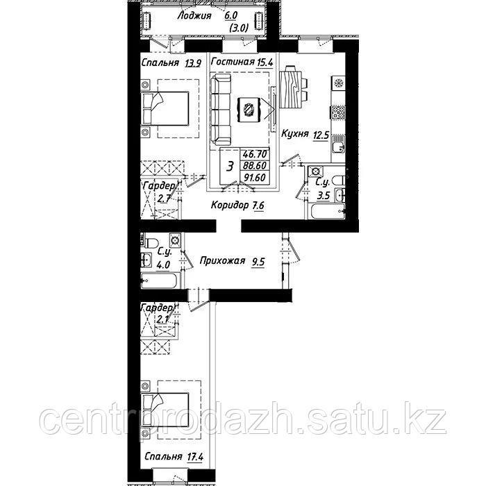 """3 комнатная квартира в ЖК """"Рио-де-Жанейро"""" 91.6 м²"""