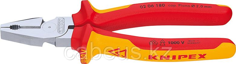 Плоскогубцы диэлектрические KNIPEX 0206180 1000 V, 180 мм, комбинированные, силовые [KN-0206180]