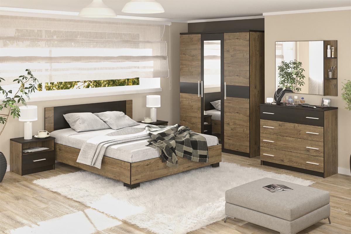 Комплект мебели для спальни Вероника, Дуб Април/Венге Темный, MEBEL SERVICE(Украина)