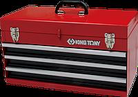 Ящик для инструмента KING TONY 87401-3 3 выдвижных ящика и отсек, красных [87401-3]