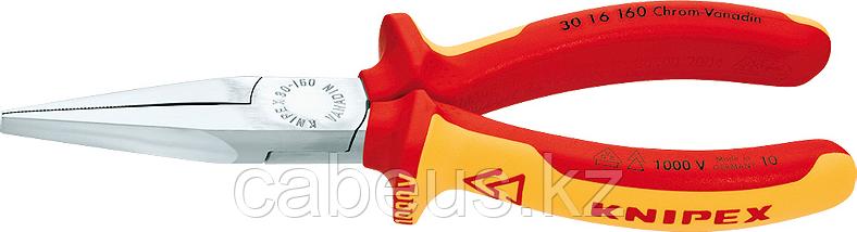 Длинногубцы диэлектрические KNIPEX 3016160 1000 V, 160 мм, с плоскими губками, зазватные губк [KN-3016160]