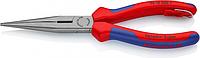 Круглогубцы с плоскими губками и режущими кромками KNIPEX 2612200T 200 мм со страховочным креплением