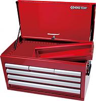 Ящик для инструмента KING TONY 87411-6В 6 выдвижных ящиков и отсек, красный [87411-6B]