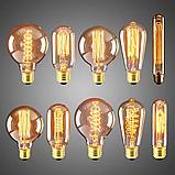 Лампы накаливания Эдисона 40 ватт, 10 см.  лампы ретро-стиля, ретро лампы, винтажные лампы, старинные лампы, фото 3