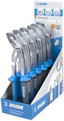 Набор клещей переставных с коробчатым шарниром в стойке рекламной - 447/1BIHPPST UNIOR