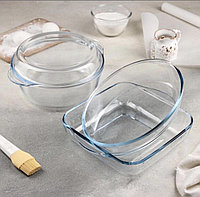 Набор посуды для запекания Borcam, три предмета: кастрюля с крышкой 2 л, форма 2 л, форма 1,5 л