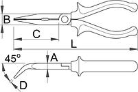 Плоскогубцы удлинённые изогнутые изолированные, рукоятки BI - 512/1VDEBI UNIOR, фото 2