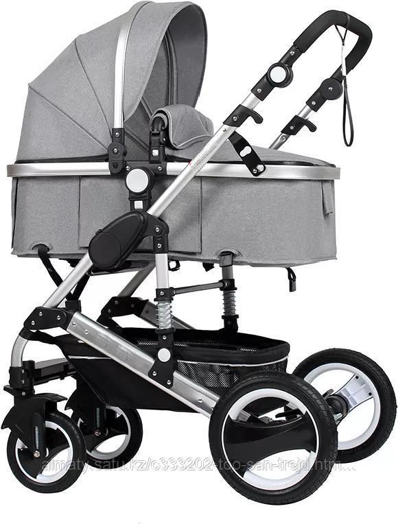 Детская коляска Belecoo 3 в 1 серебряная рама(серый)+автолюлька