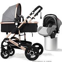 Детская коляска Belecoo 3 в 1 серебряная рама(серый)+автолюлька, фото 2