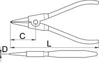 Съёмник наружных стопорных колец с прямыми концами - 532/1P UNIOR, фото 2