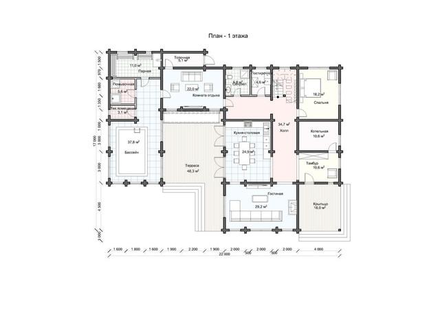 Проект  деревянного дома из бруса с мансардой и терасой, план двухэтажного дома и строительство под ключ, проекты и фото деревянных домов.