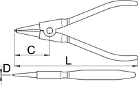Съёмник наружных стопорных колец с прямыми концами - 532PLUS/4DP UNIOR, фото 2